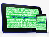 Management Tablet Shows Authority Administration And Governing