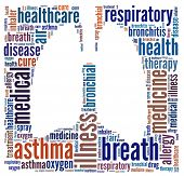 stock photo of asthma  - Asthma in word collage - JPG