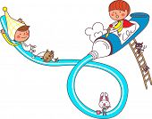 The view of children with tube