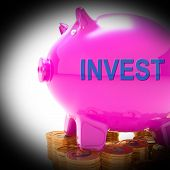 Invest Piggy Bank Coins Shows Investment Returns And Stake