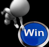 Win Pressed Shows Victory Or First Place
