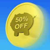 Fifty Percent Off Gold Coin Shows 50 Half-price Deal