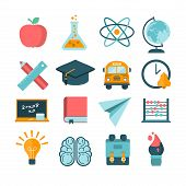 set of modern vector school icons