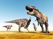 Corythosaurus and Tyrannosaurus Rex