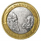 Close Up Of A Two Pound Darwin Commemorative Coin