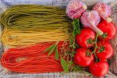 Italian cuisine - Italian tricolor pasta  and ingredients