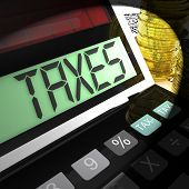 Taxes Calculated Shows Income And Business Taxation