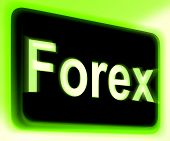 Forex Sign Shows Foreign Exchange Or Currency