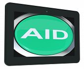 Aid Tablet Means Help Assist Or Rescue