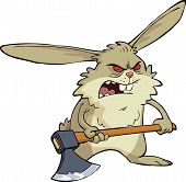 image of ax  - Angry bunny with an ax vector illustration - JPG