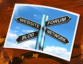 Website Forum Blog Network Sign Shows Internet