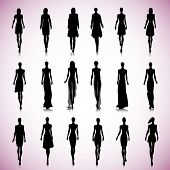 Set Of Female Fashion Silhouettes