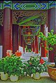 Ornamental Passageway Of Palace In Lijiang, China, Oil Paint Stylization