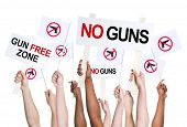 People campaigning for gun free zone.