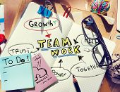 Note Pad and Teamwork Concept