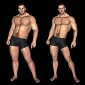 Concept or conceptual 3D fat overweight vs slim fit with muscles young man on diet isolated on black