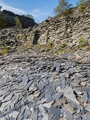Slate waste heap from slate mine