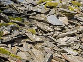 Slate waste from slate mine