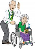 Senior Couple with Lady in Wheelchair