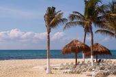 stock photo of playa del carmen  - Playa del Carmen beach Quintana Roo Mexico - JPG