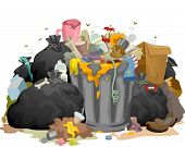 stock photo of rotten  - Illustration of a Pile of Decaying Garbage Left Lying Around - JPG