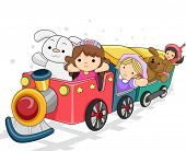 Illustration of a Toy Train Carrying Different Toys for Girls
