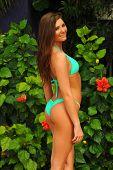 Model in blue bikini
