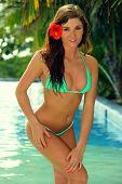 Model in bikini posing in tropical pool