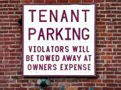 Tenant Parking Sign Brick outside Wall