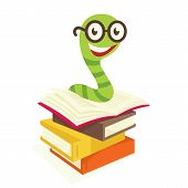 pic of bookworm  - white background color books and cute little bookworm - JPG