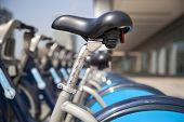 LONDON, UK - MAY 7, 2014: Boris bikes parking on business Canary Wharf aria, sponsored by Barkley's