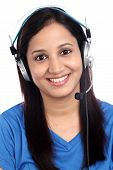 Happy Young Indian Call Center Girl