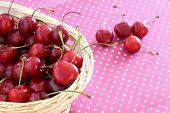 Cherries In Wicker Basket
