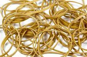 Closeup Of Rubber Bands Stacked In A Pile