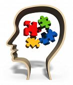 Head with jigsaw puzzle pieces in brain concept for problem solving, solution, problems or puzzled m