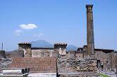 Ruins of Pompeii near volcano Vesuvius Italy