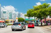 MIAMI,USA - MAY 19,2014 : Traffic flowing from the famous 8th street in Little Havana into downtown