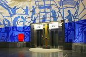 Elevators on T-Centralen station on the Blue Line designed by Per Olof Ultvedt in 1975 in Stockholm
