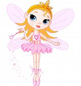 Little Cute fairy ballerina with magic wand. Raster version.