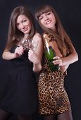 Two cheerful girls with champagne and glasses