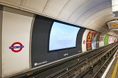 Inside View Of London Underground And His Advertising