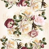 Floral  Seamless Pattern With Roses And Flowers In Watercolor Style