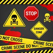 Warning Danger Crime Signs On Rusty Background