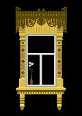 foto of woodcarving  - Woodcarved window and bunch of Leucanthemum - JPG