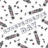 Independence day celebration card with text