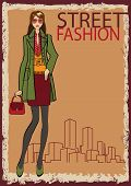 Lovely Trendy Girl. Fashion Illustration