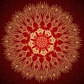 Burgundy pattern with gold lace ornament