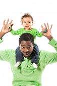 Happy Black Father And Child Boy Cuddling On Isolated White Background. Use It For Baby, Parenting O