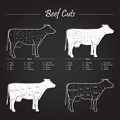 Beef Meat Cuts Scheme On Blackboard