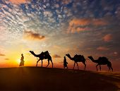 Rajasthan travel background - two indian cameleers (camel drivers) with camels silhouettes in dunes